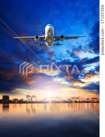 Stock Photo: plane flying over ship in harbor port