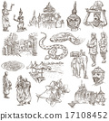 Cambodia - Hand drawn illustrations. Frehand pack. 17108452