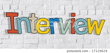 Interview Brick wall Single Word Text Background Clean Concept 17129629