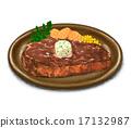 牛排 碟 烹調的 17132987