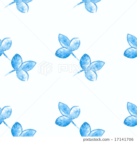watercolor blue flower silhouette closeup isolated on