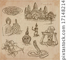Kingdom of Cambodia - Hand drawn vector pack 17148214