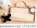 Wooden photo frame, vintage pocket watch. 17152307