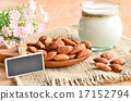 Almond milk in glass with almonds 17152794