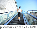 Runner athlete running on stairs.   17153491