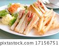 샌드위치, 빵, 하얀 접시 17156751