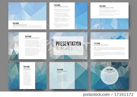 set of 9 templates for presentation slides abstract blue