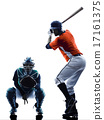 Men baseball players silhouette isolated 17161375