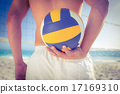 Handsome man holding volleyball 17169310
