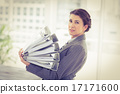 Businesswoman with folders 17171600