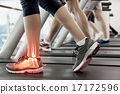 Highlighted ankle of woman on treadmill 17172596