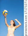 woman serve at a volley ball match 17173271