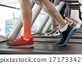 Highlighted ankle of man on treadmill 17173342