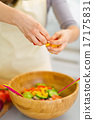 Closeup on housewife preparing vegetable salad 17175831