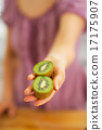Closeup on kiwi slices in hand of young woman 17175907