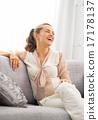 relaxed, sofa, female 17178137