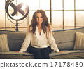 sofa, relaxed, woman 17178480