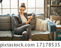 Business woman with coffee latte in loft apartment 17178535