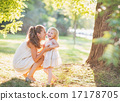 Portrait of happy mother and baby playing outdoors 17178705