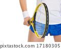 Closeup on tennis player holding tennis racket 17180305