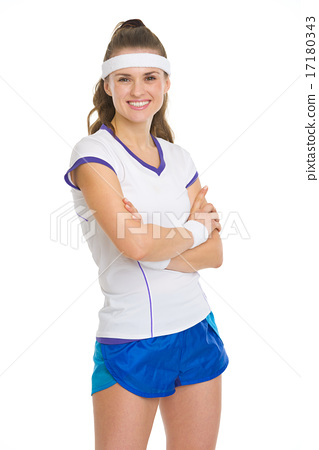 Portrait of smiling tennis player 17180343