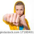 Teenager girl punching 17180401