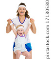 Portrait of happy mother and baby in tennis clothes 17180580