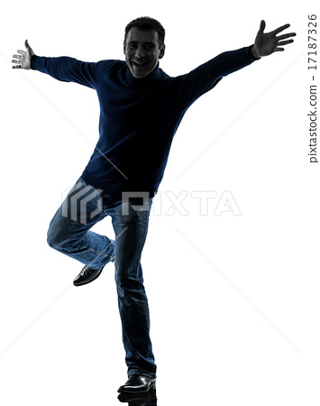 man happy saluting silhouette full length 17187326
