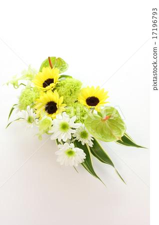 向日葵和火鶴花的安排(整個垂直) 17196793