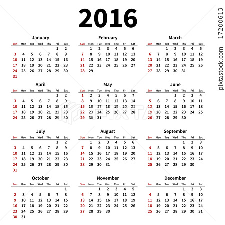 simple 2016 year calendar on white background stock illustration