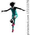 teenager girl child  soccer player isolated silhouette 17213376