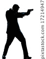 silhouette man full length shooting with gun 17214947