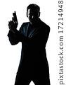 silhouette man portrait with gun 17214948