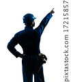 man construction worker pointing showing silhouette portrait 17215857