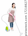 chinese young woman with a vacuum cleaner 17216627
