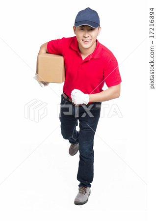 delivery man carrying cardboard box 17216894