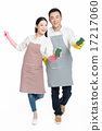 man and woman holding cleaning supplies 17217060