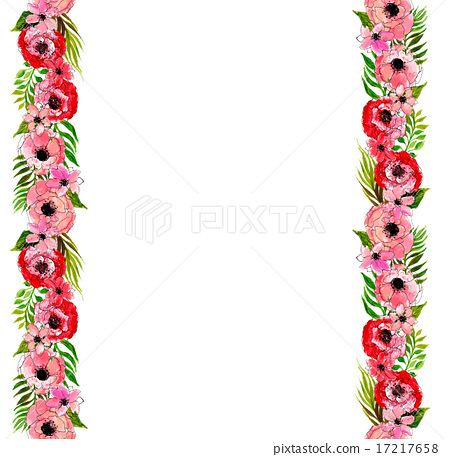 Floral border with pink flowers stock illustration 17217658 pixta floral border with pink flowers mightylinksfo