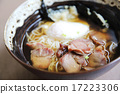 Noodle with pork and egg on wood background 17223306