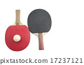 Two table tennis rackets and a ball isolated 17237121