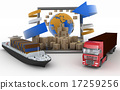Concept of goods online orders around the world 17259256