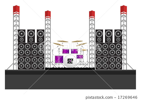 Festival Stage with Speakers and Drums 17269646
