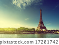 Seine in Paris with Eiffel tower in sunrise time 17281742
