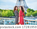 Twin sisters in front of the Eiffel tower in Paris, France 17281950