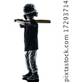 child playing softball players silhouette isolated 17293714