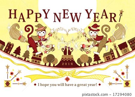 """เทมเพลตการ์ดปีใหม่ 2016 ประจำปี """"Wizard Monkey"""" HAPPYNEWYEAR Yellow 17294080"""