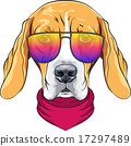 vector hipster serious dog Beagle in glasses 17297489