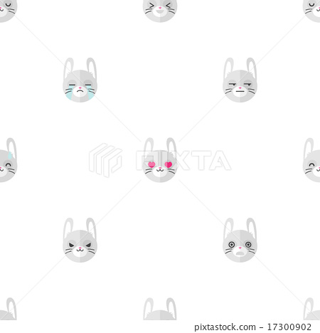Stock Illustration: Vector flat cartoon rabbit heads with different emotions seamless pattern. Animal emoticons