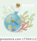 跳水 海藻 水肺 17304112
