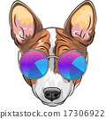 vector hipster serious dog Beagle in glasses 17306922